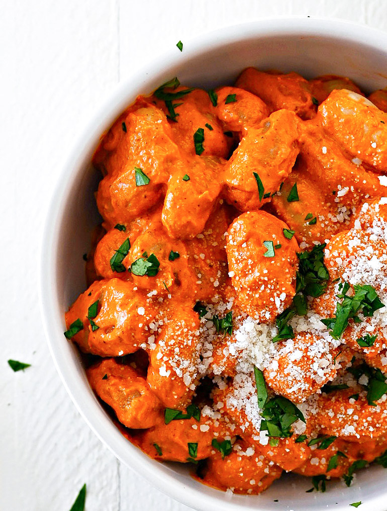 gnocci with romesco sauce