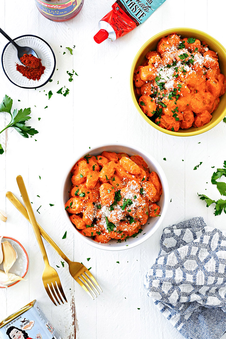 easy gnocchi with romesco sauce