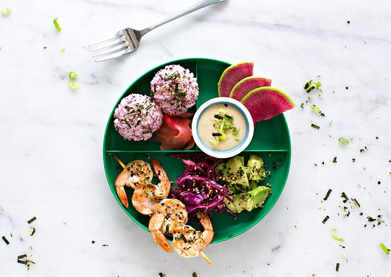 sesame shrimp sushi plate for kids