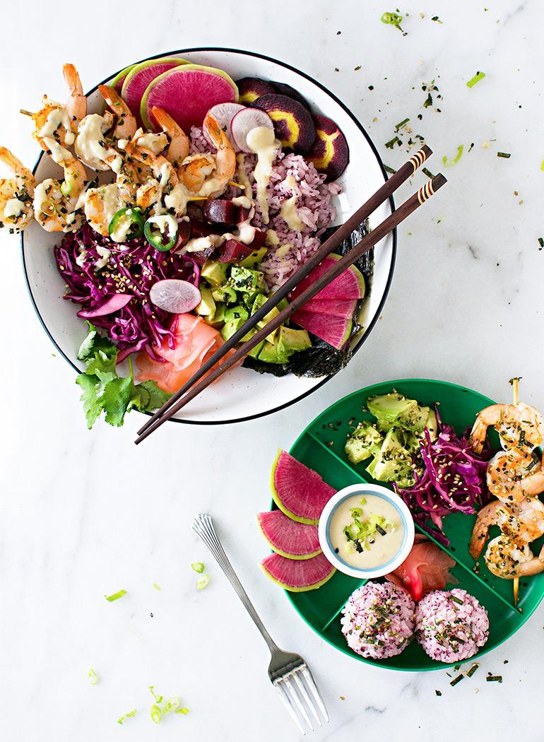 sesame shrimp sushi bowls