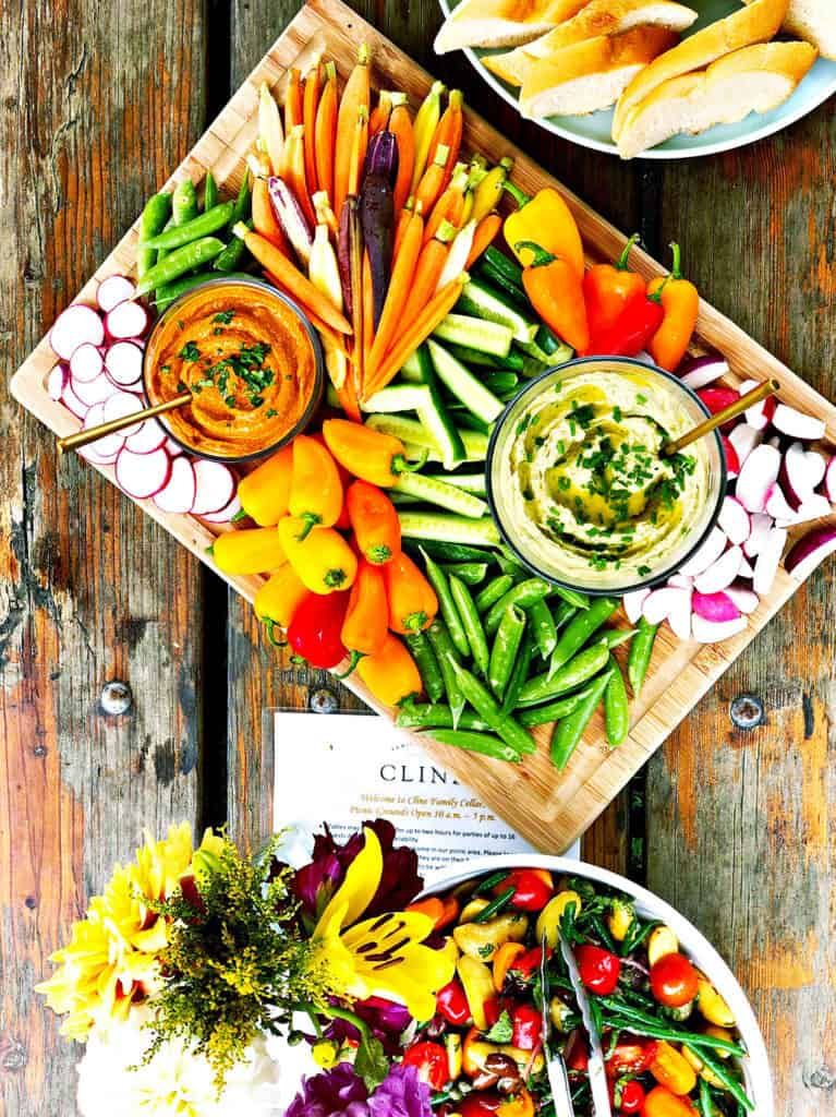 veggie platter with romesco sauce