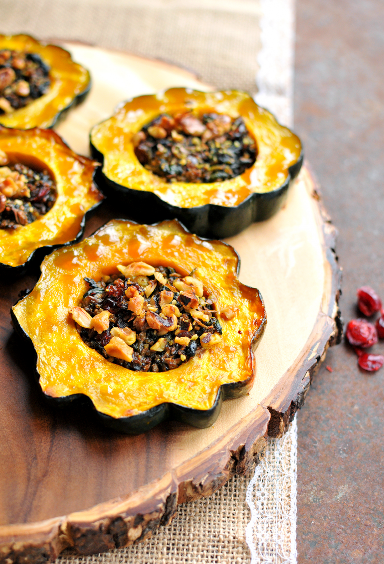 acorn squash rings stuffed with spinach