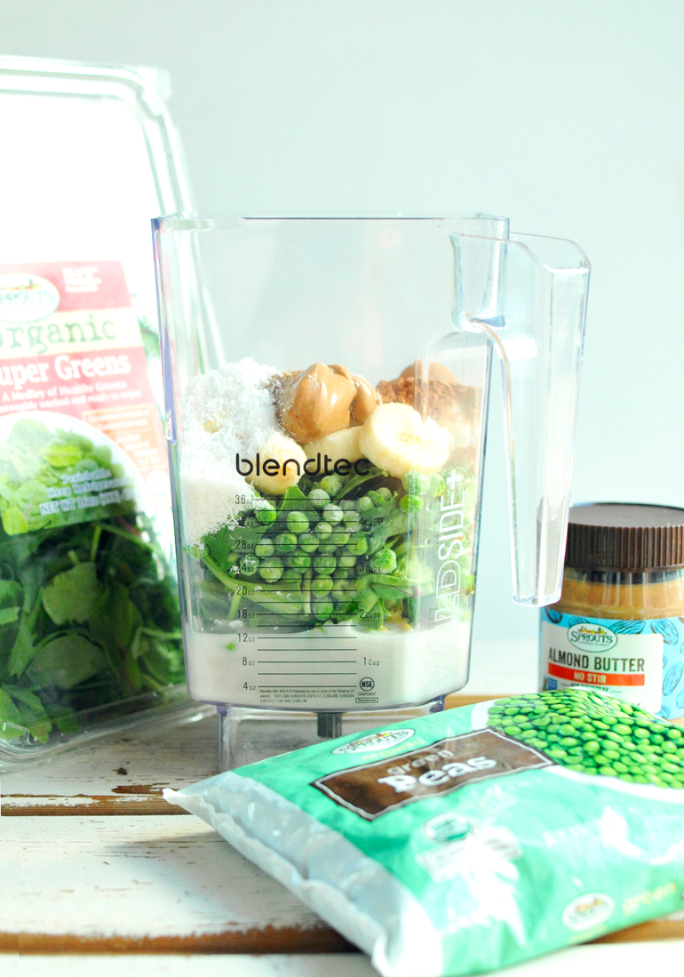 almond joy green smoothie in the blendtec