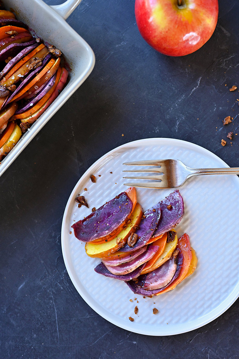 baked apples and sweet potatoes plated