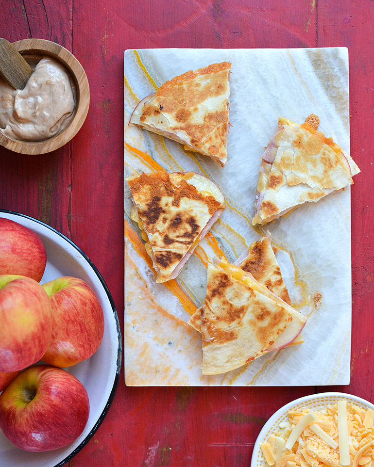 autumn glory apple quesadillas on marble board