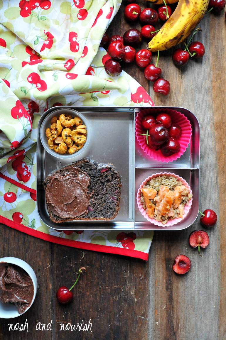healthy lunchbox with chocolate cherry banana bread