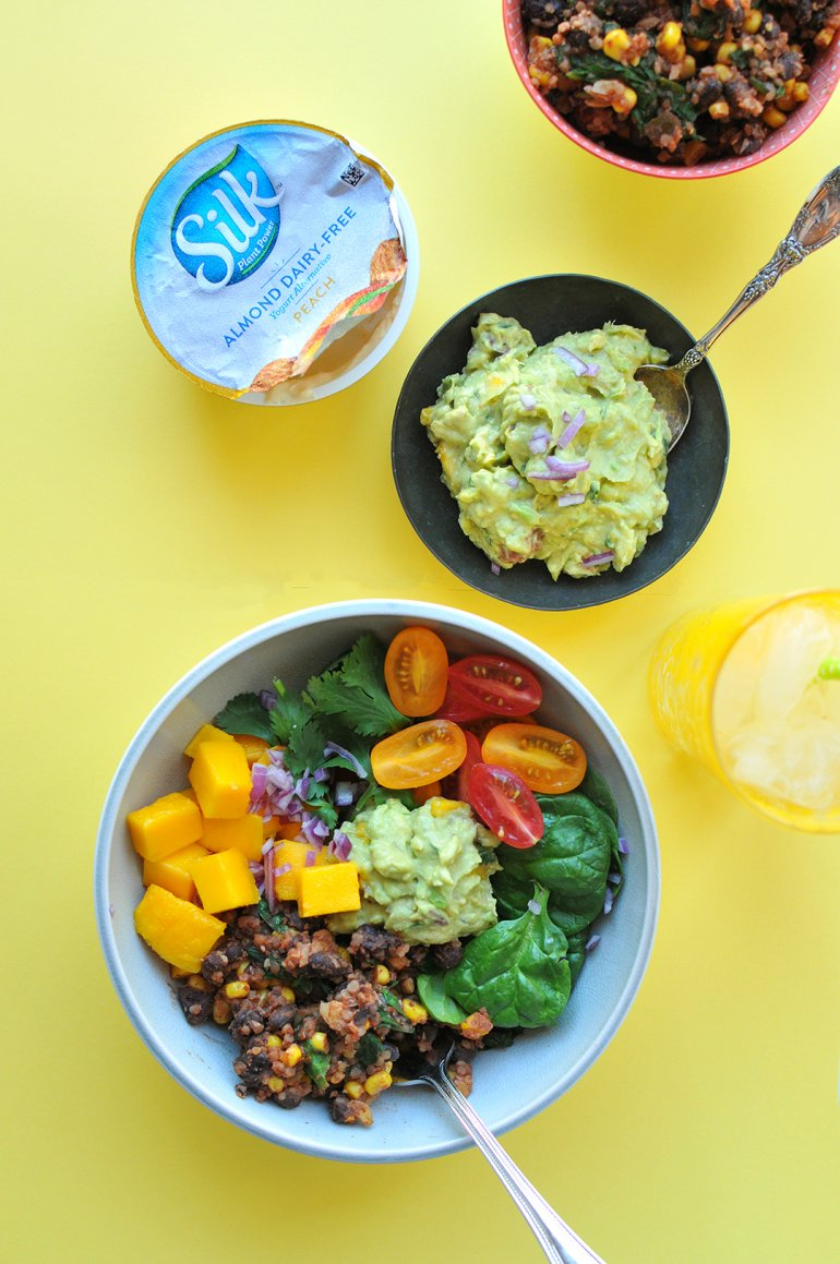 beans and greens buddha bowl with peach guac