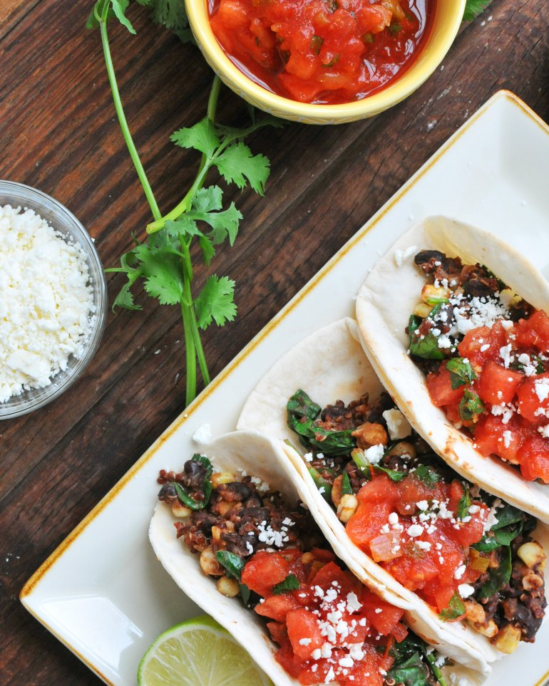 beans and greens tacos with watermelon salsa