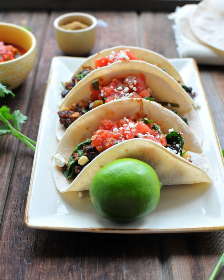 vegetarian beans and greens tacos