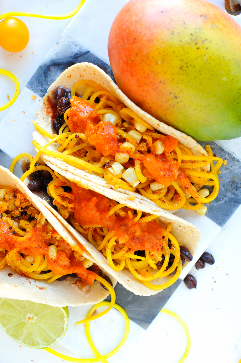 golden beet noodle tacos with mango salsa