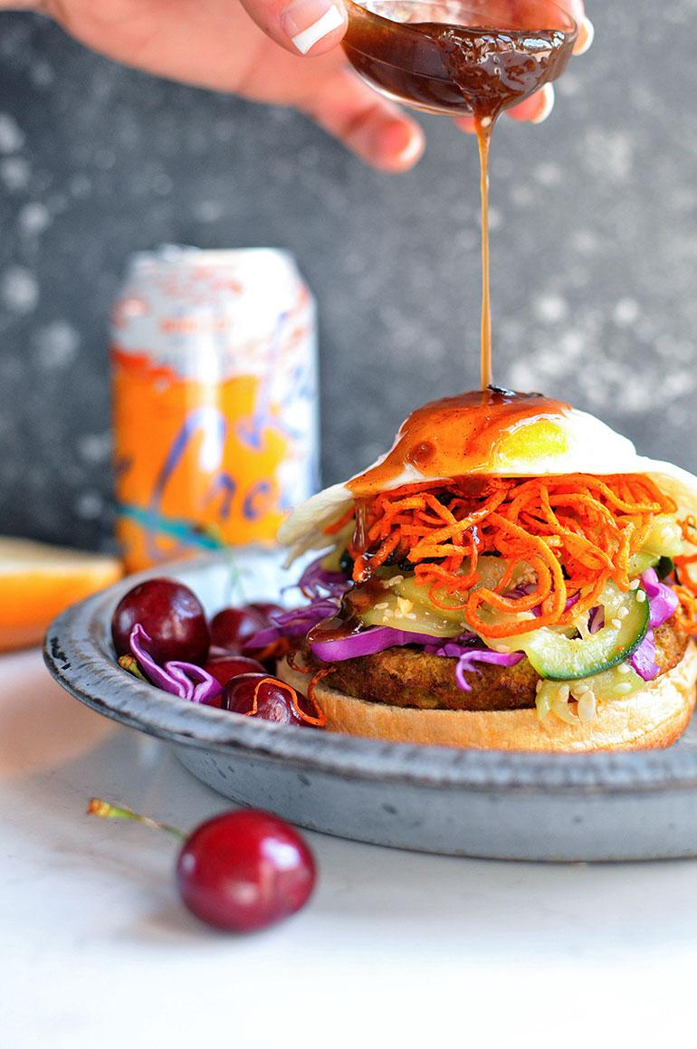 korean bbq bibimbap veggie burgers