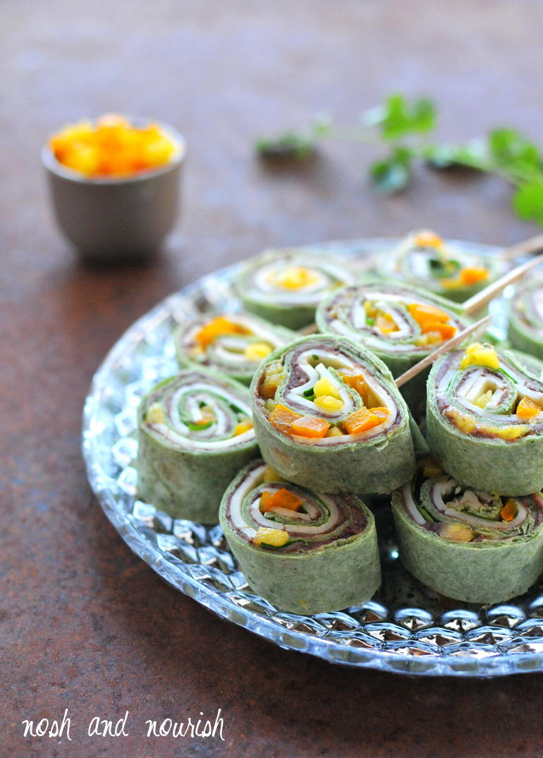 black bean mango pinwheels game day appetizer