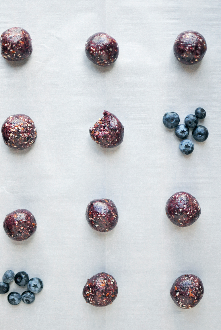 blueberry bliss bites lined up