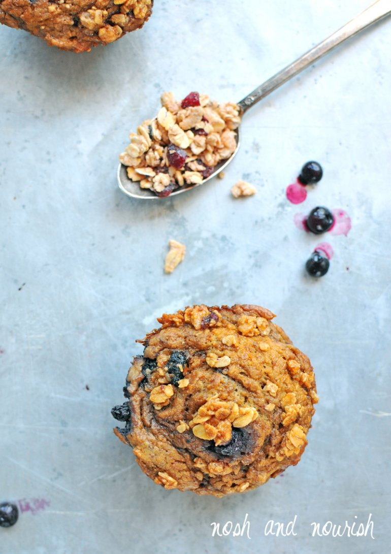 blueberry crumble muffins with granola