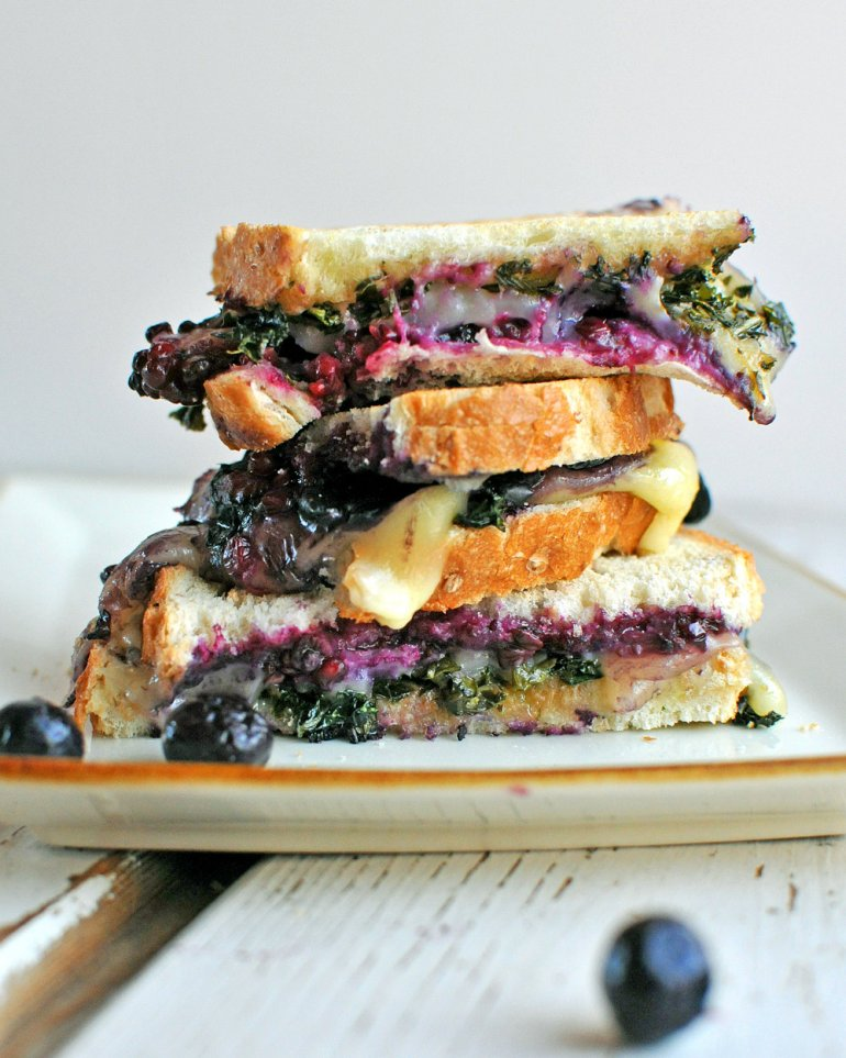 smashed berry and balsamic kale grilled cheese