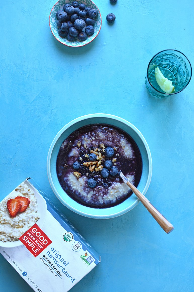 blueberry oatmeal bowl with good food made simple