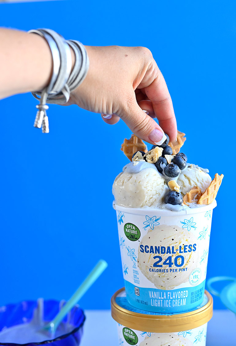 scandal-less ice cream sundae with blueberries