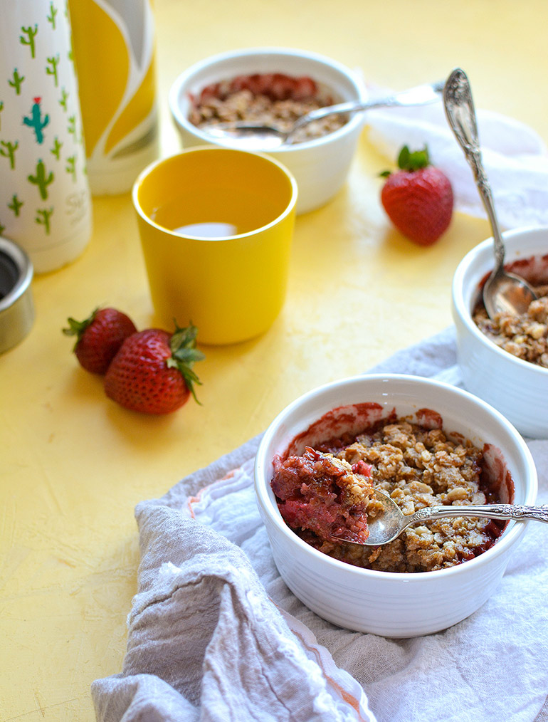 strawberry rhubarb cobbler with Silk creamer