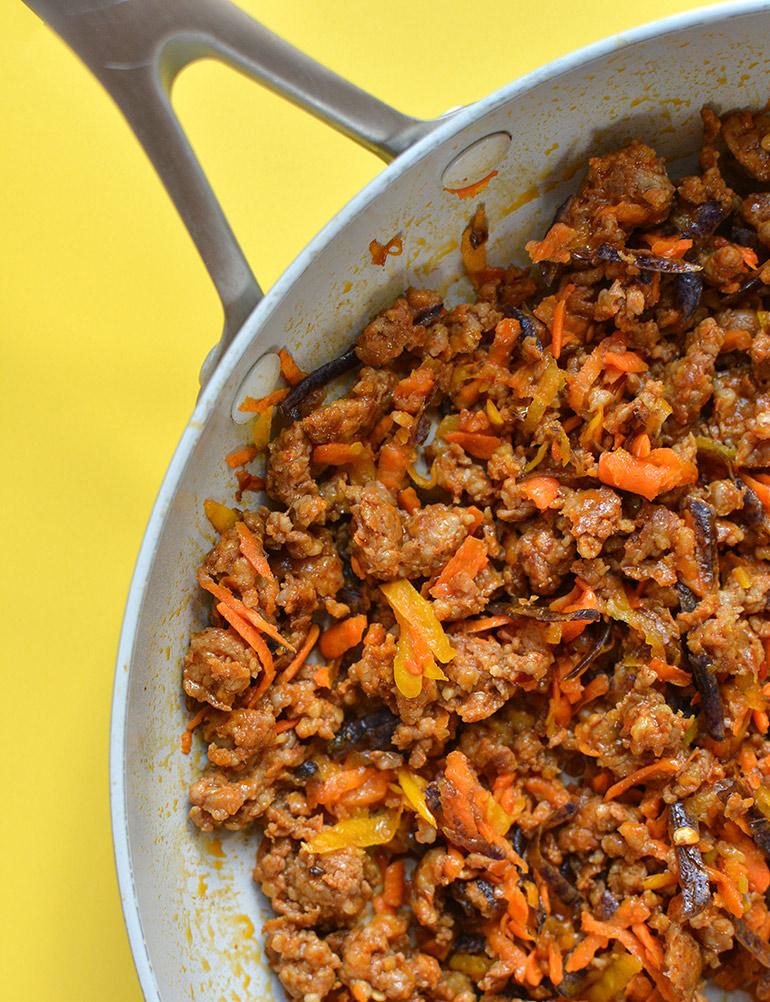 chorizo and root veggies in pan