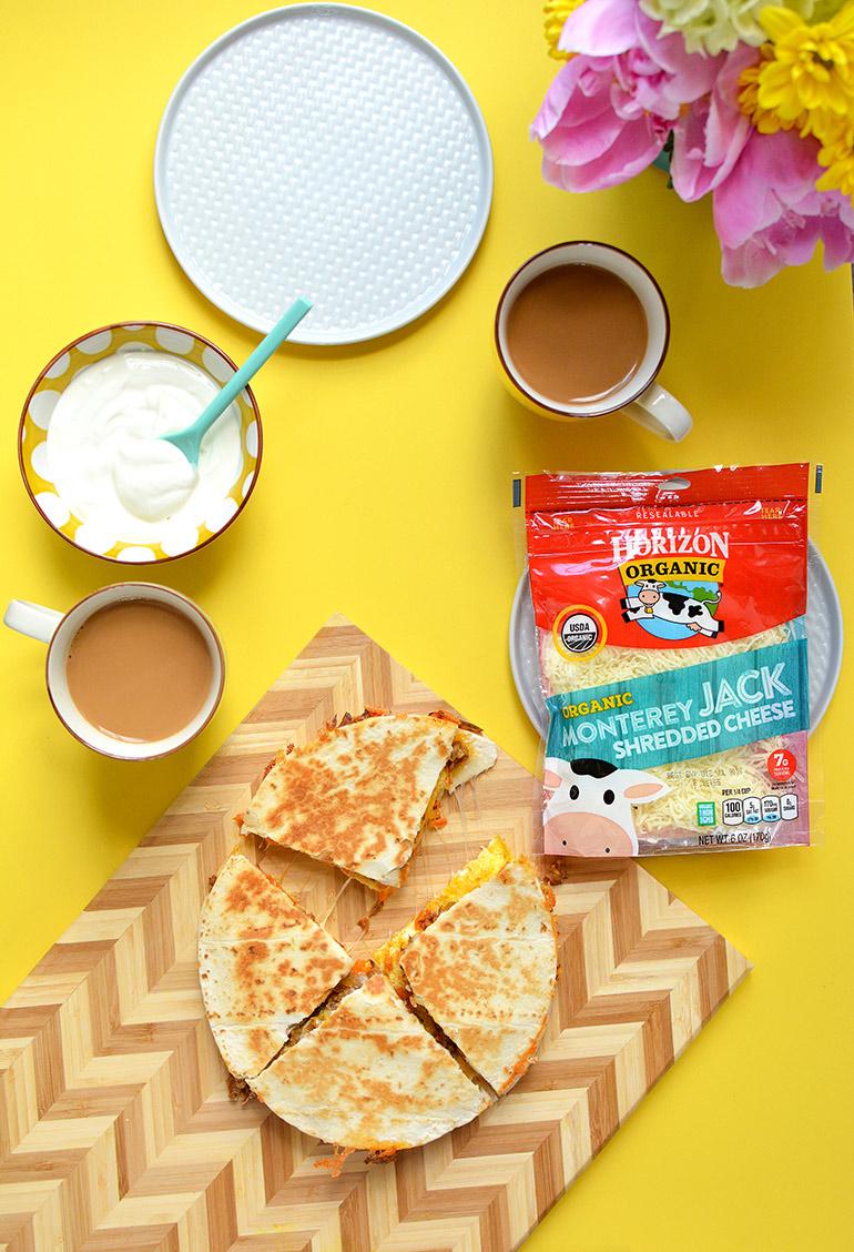 breakfast quesadillas with horizon organic monterey jack cheese