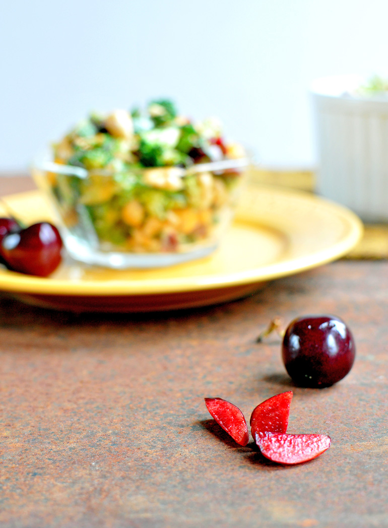 broccoli cherry salad with sprouts
