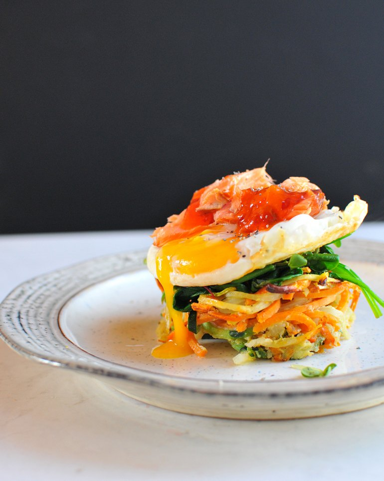 smoked salmon breakfast stack