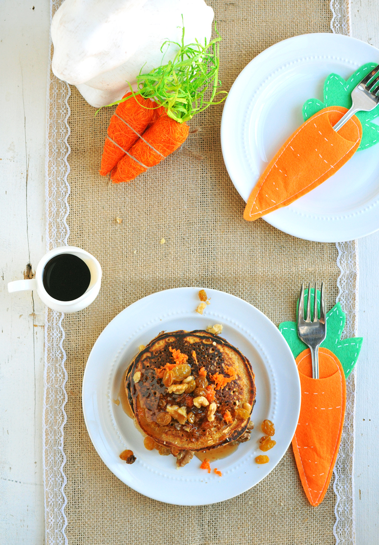 carrot cake pancakes above