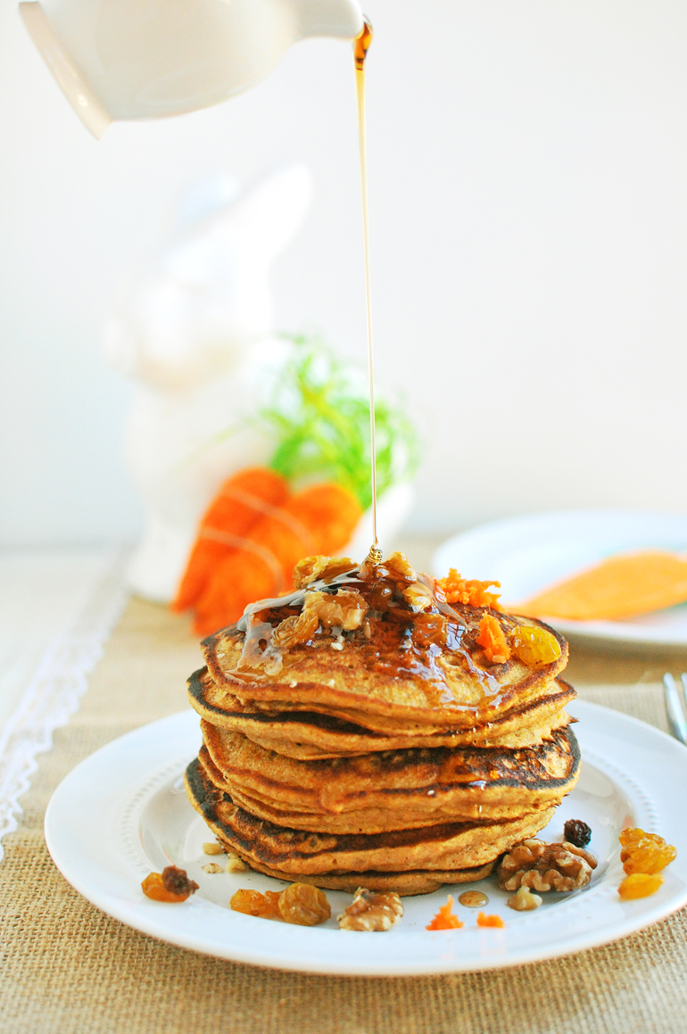 carrot cake pancakes with syrup