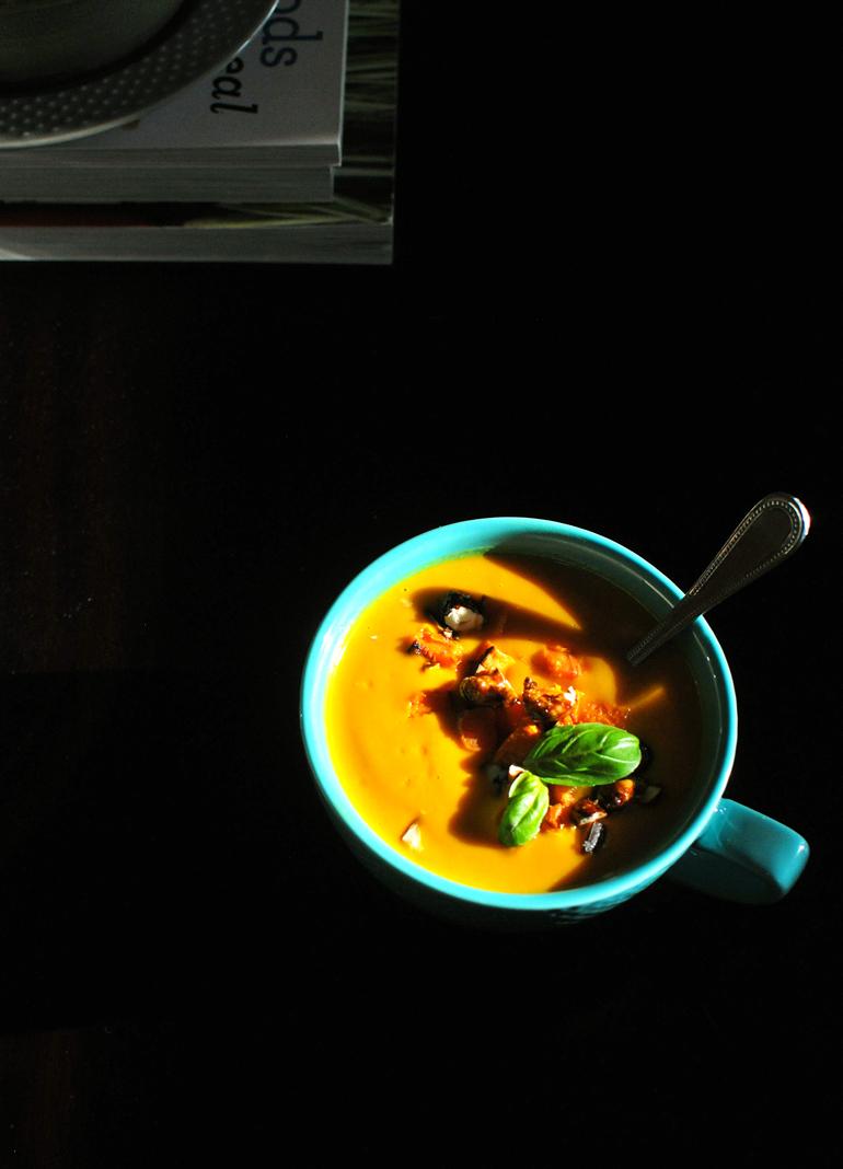 carrot ginger cashew soup in sunlight