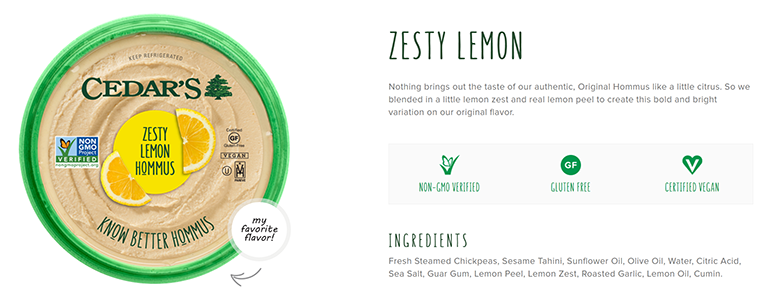 cedars hommus zesty lemon