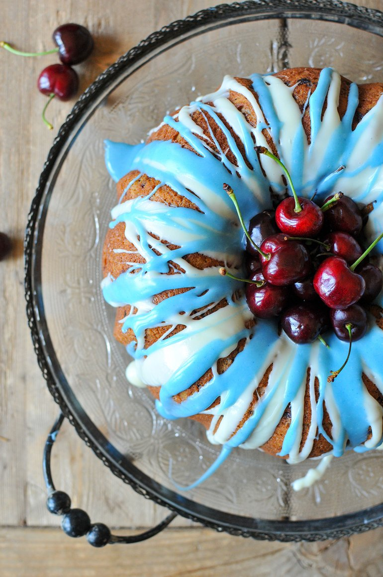 roasted cherry bourbon cake above