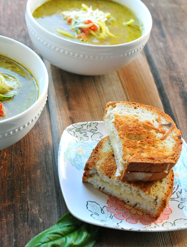 chicken pesto zoodle soup with gf grilled cheese