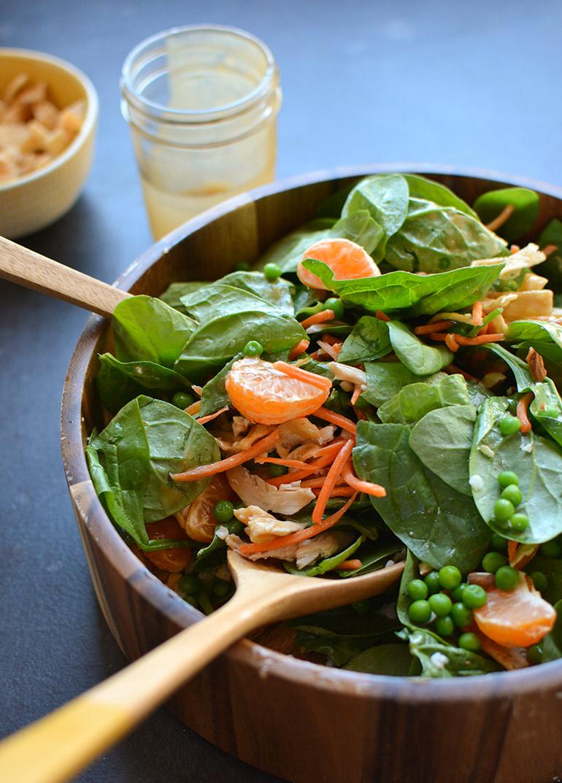 closeup orange chicken salad