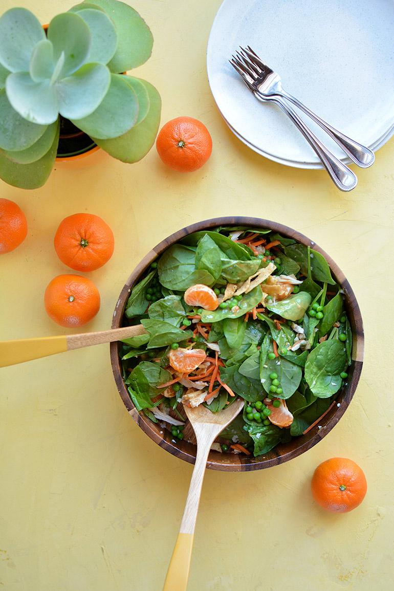 orange chicken salad with almond butter dressing