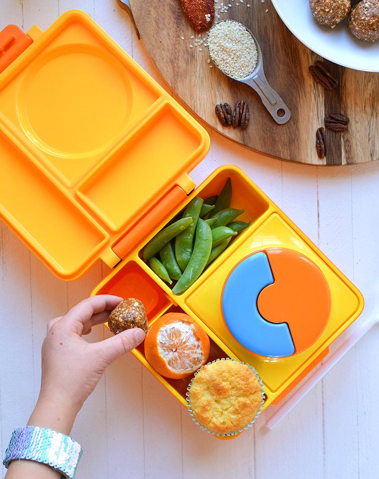 chili mango energy ball in lunchbox