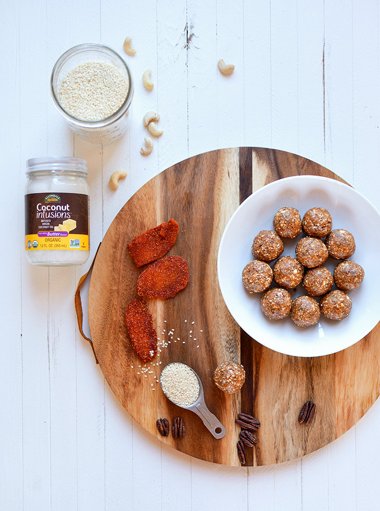 chili mango energy balls with coconut oil