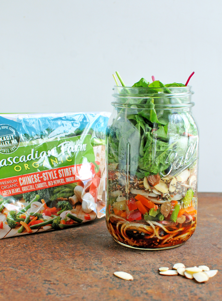 chinese mason jar salad with cascadian farm