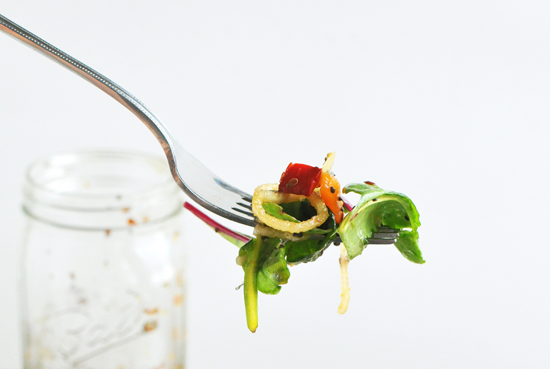 chinese mason jar salad on fork