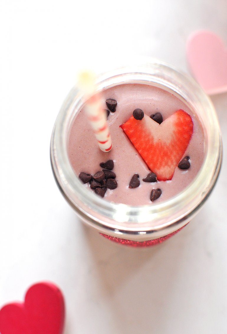 chocolate covered strawberry smoothie close-up