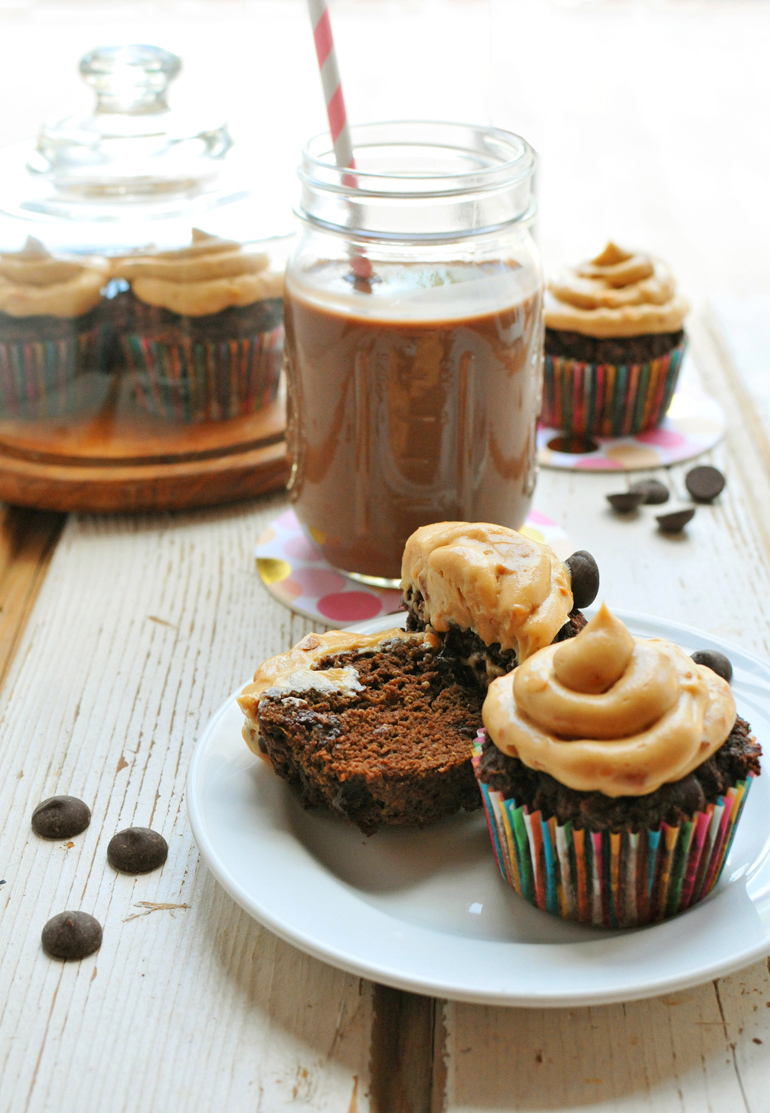 triple chocolate cupcakes with peanut butter frosting