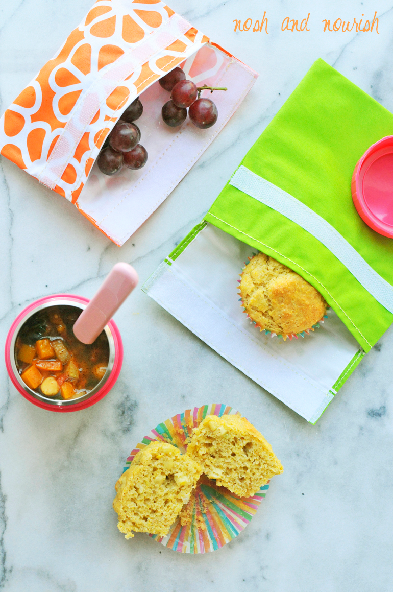 cornbread muffins with mightynest lunchware