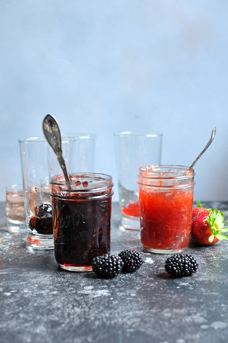 boozy ice cream floats with jam