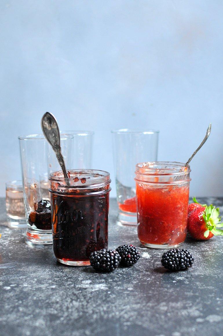 boozy ice cream floats with jam