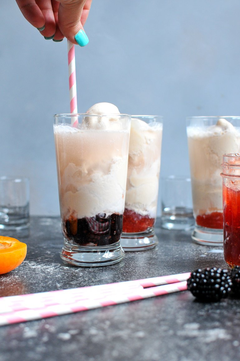 stirring boozy ice cream floats