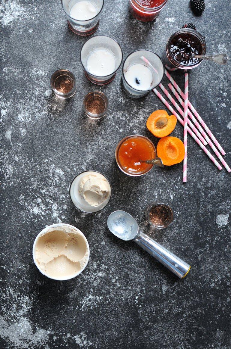 scooping ice cream into boozy floats
