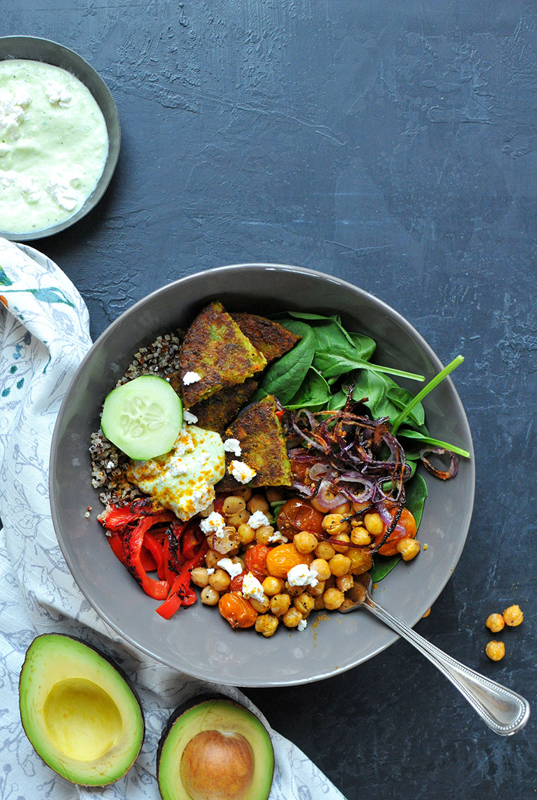 curry bombay veggie bowl with creamy yogurt sauce