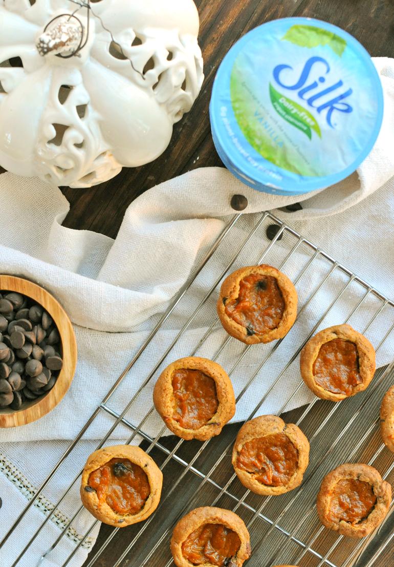dark chocolate pumpkin pie bites with silk yogurt