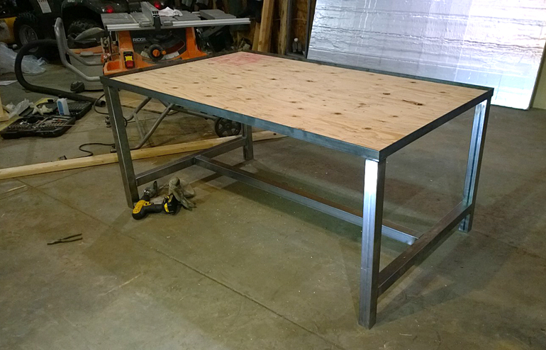 metal base of the table