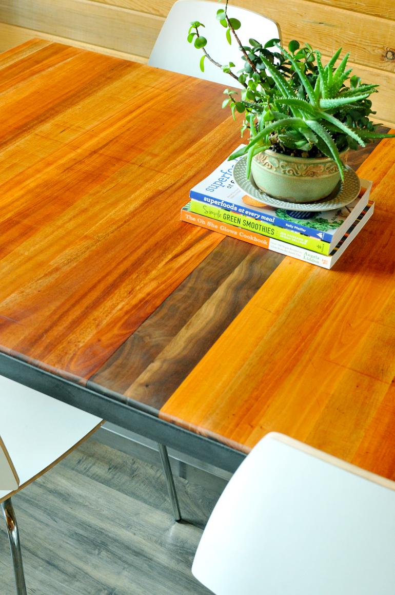 upcycled dining table mahogany and walnut