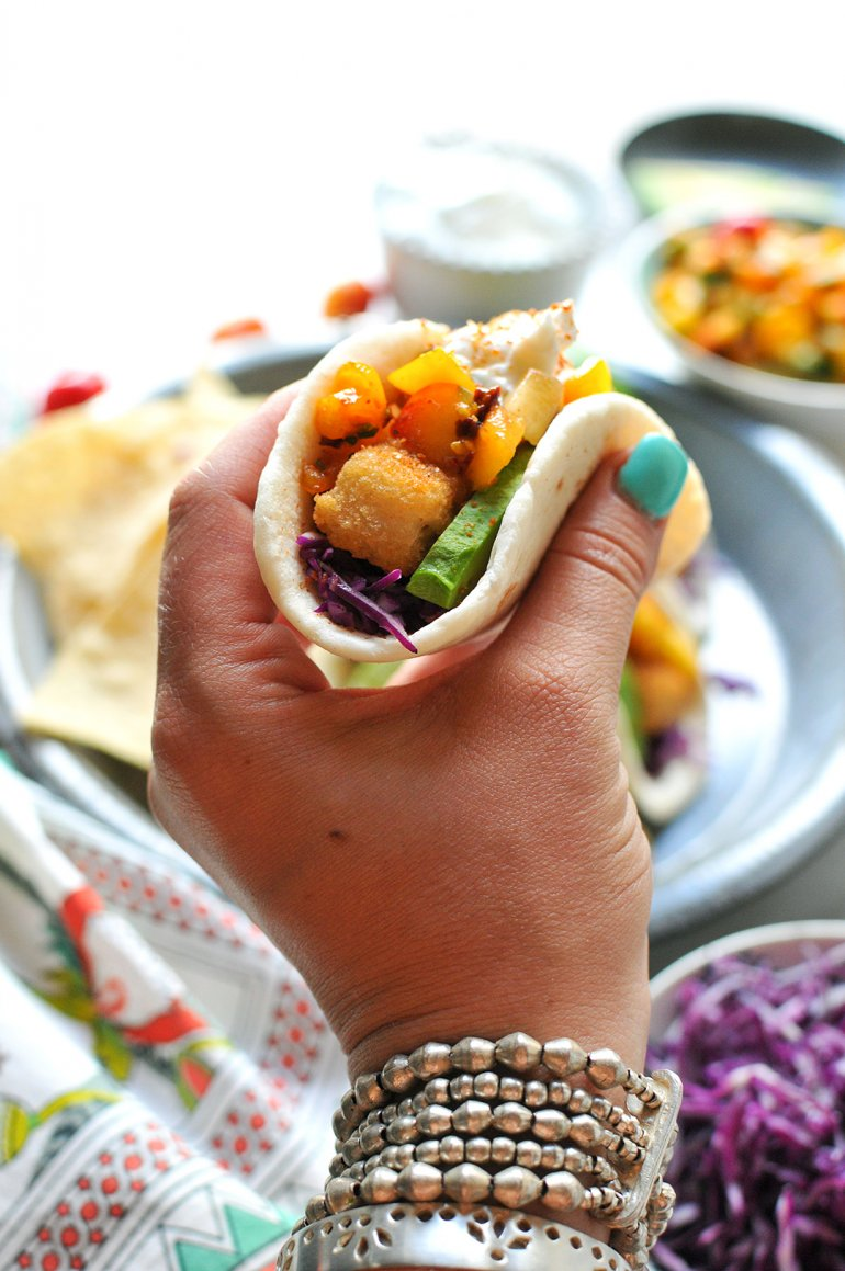 easy fish taco in hand